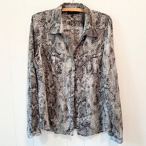 Anne Klein Snakeskin Print Button Up Blouse